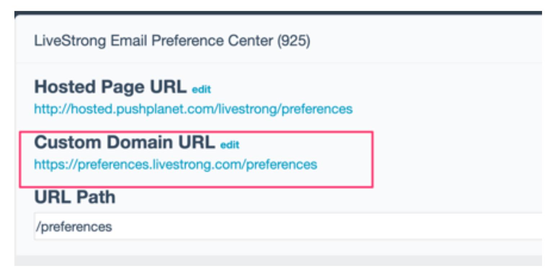 custom domain email preference center