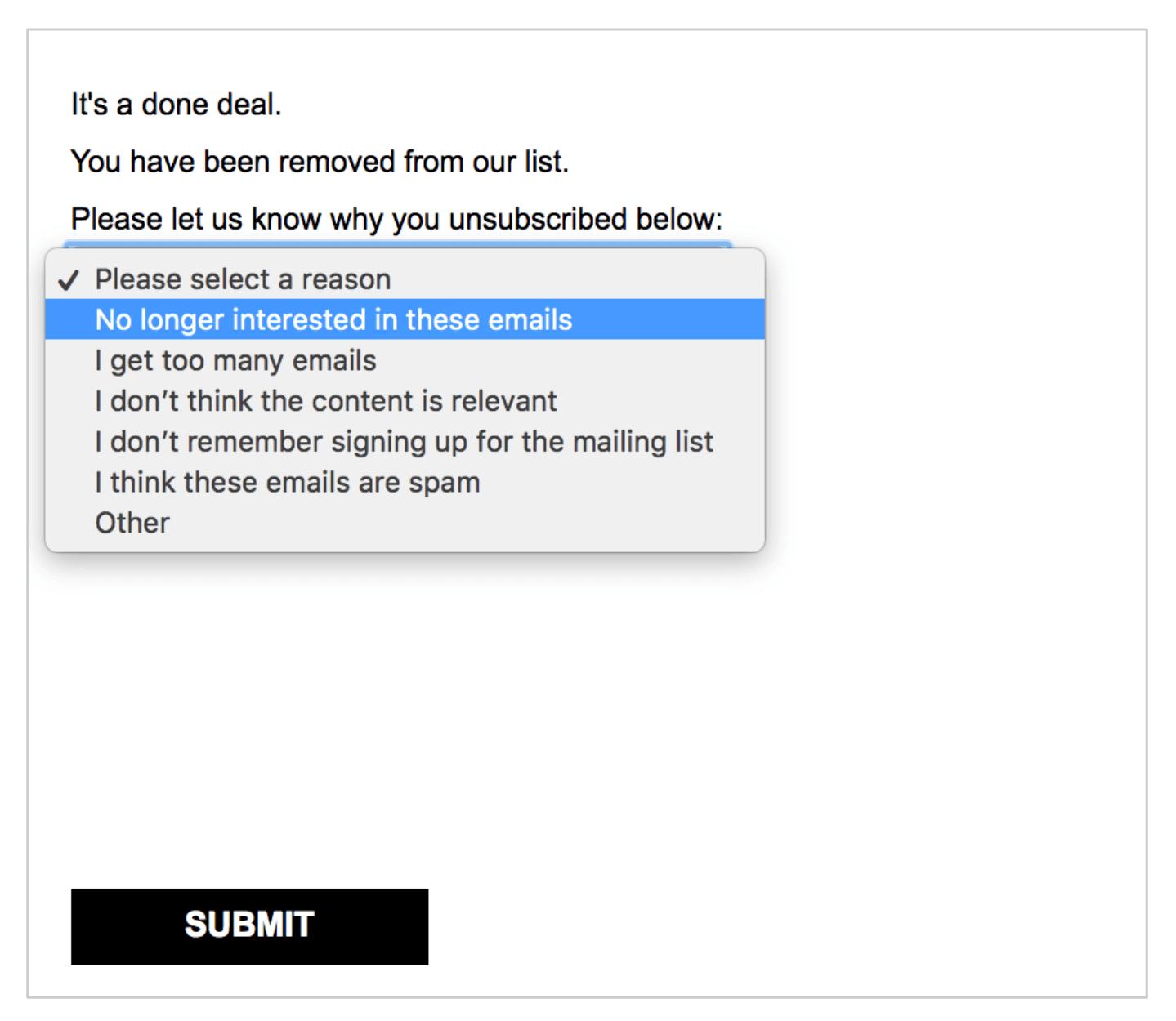 preference center unsubscribe survey