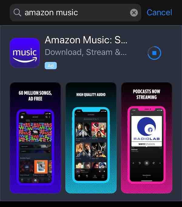 "Screenshot of Amazon Music in the Apple App store, featuring a ""Podcasts now streaming"" message."