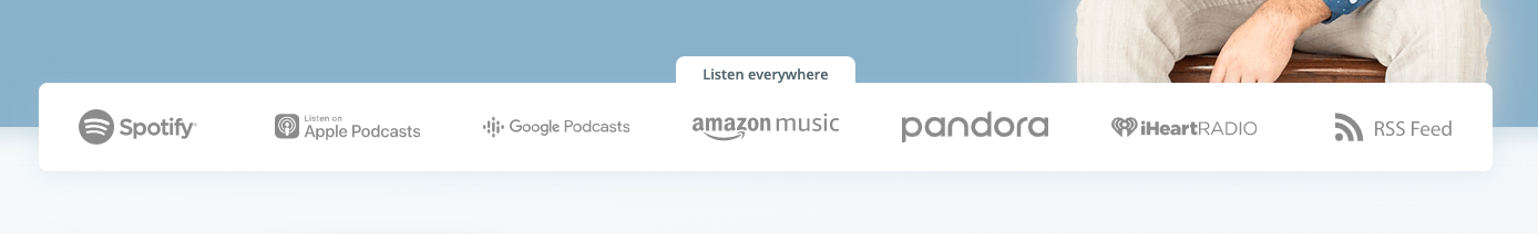 """My """"listen everywhere"""" bar from my website, showing Spotify listed first."""