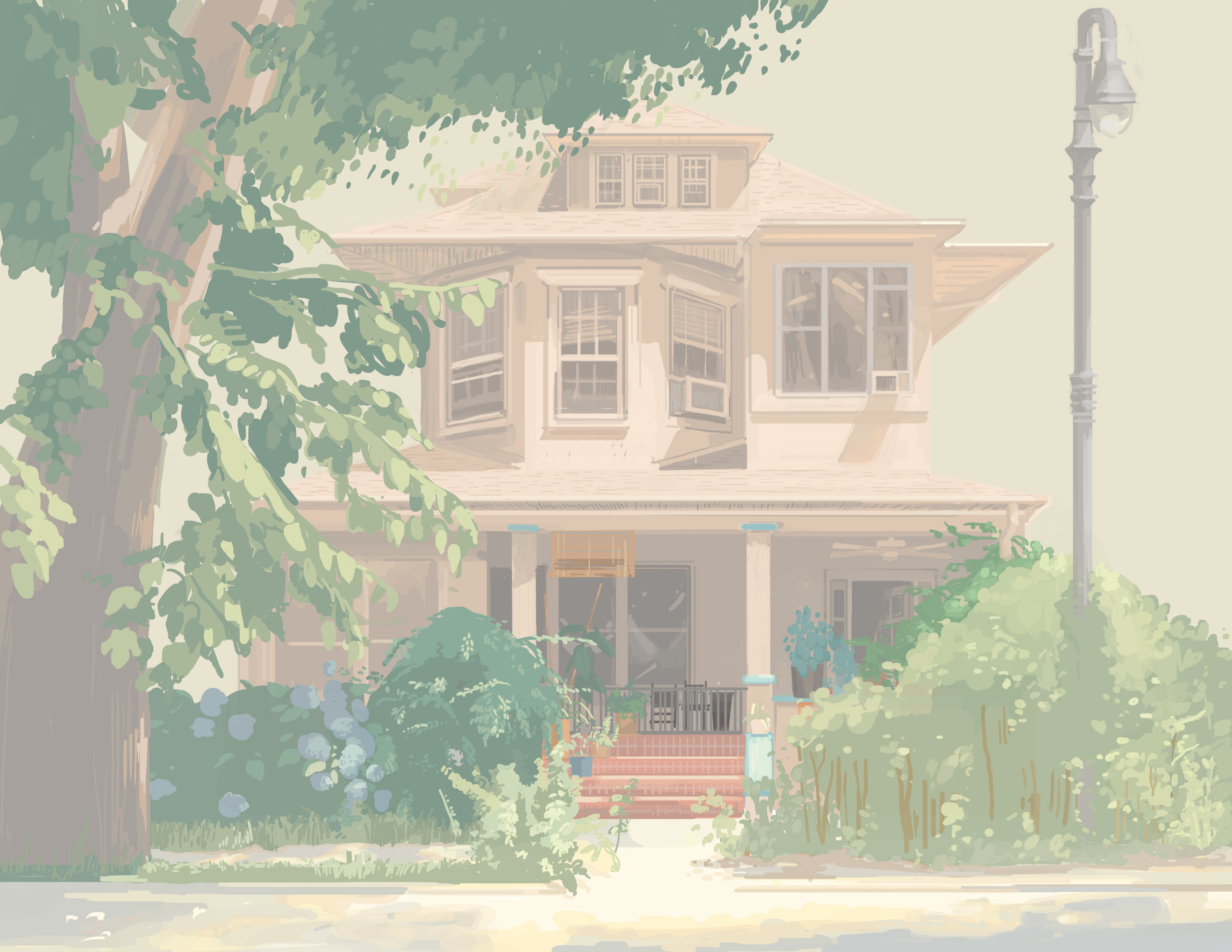 Illustration of a house with a large tree in front of it.