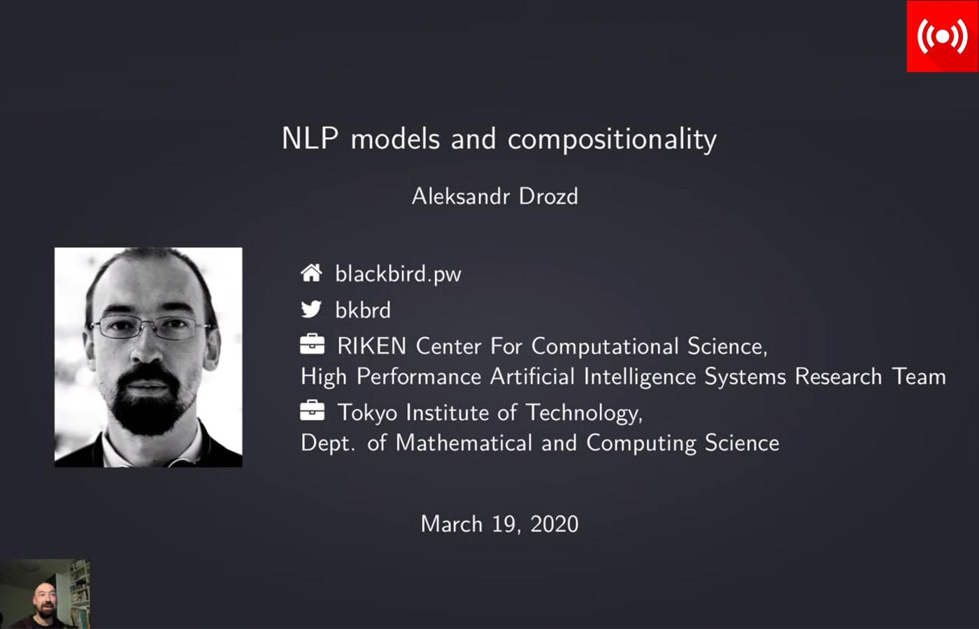Dr. Aleksandr Drozd presenting via YouTube Live