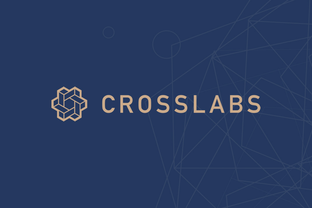 The Cross Labs logo in gold against a royal blue background.