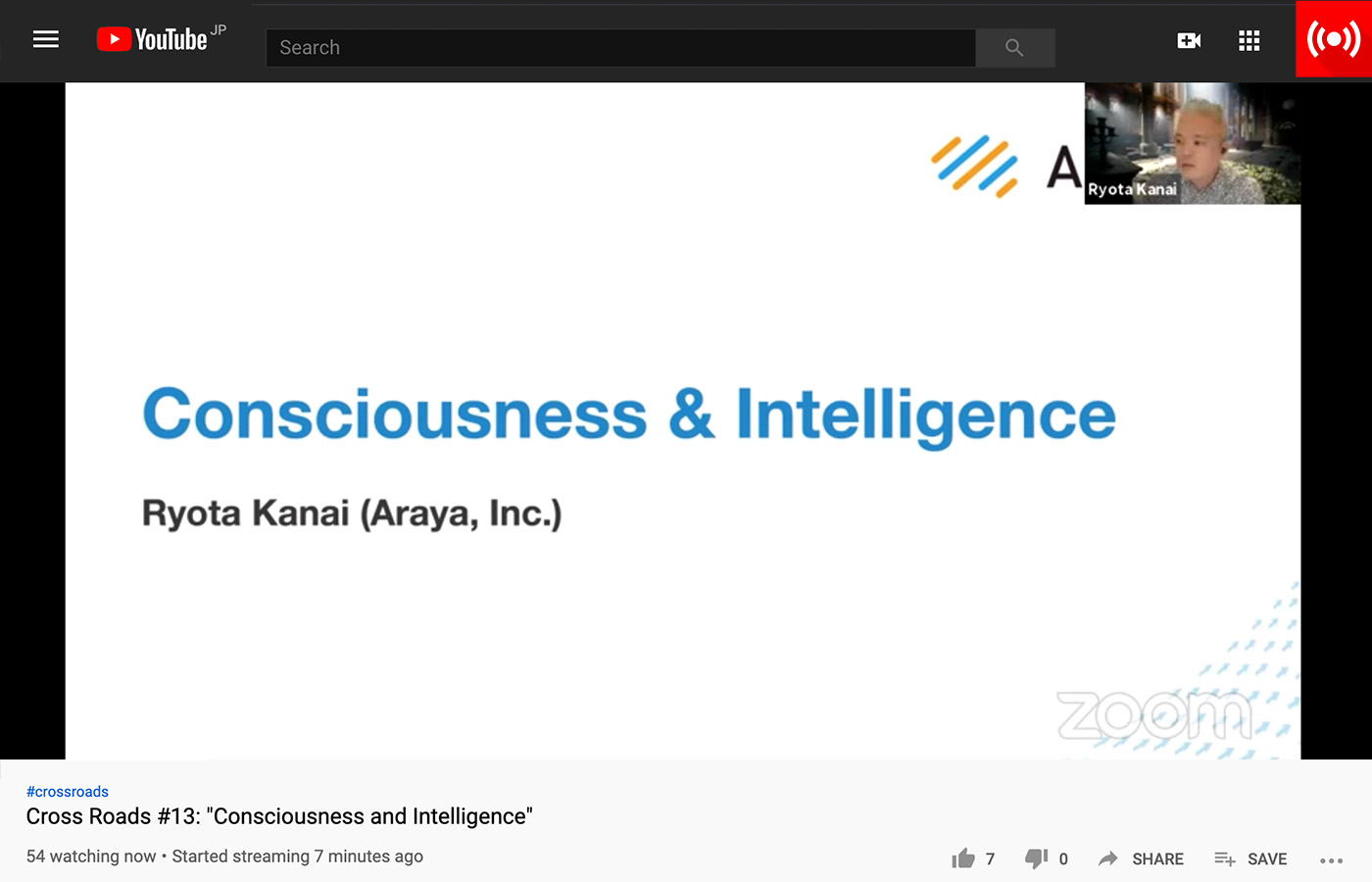 Dr. Ryota Kanai presents via YouTube Live