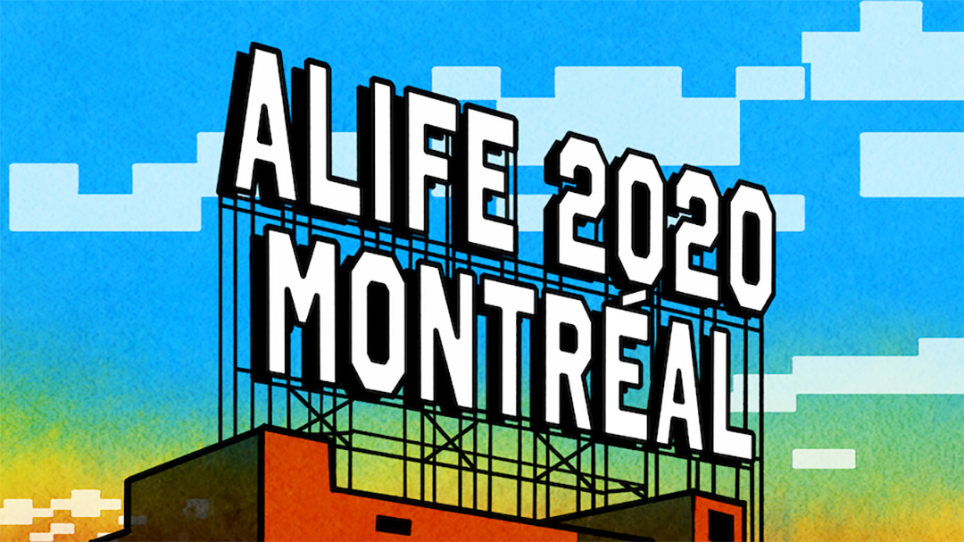 An illustration of an ALIFE 2020 Montreal billboard on top of a factory.