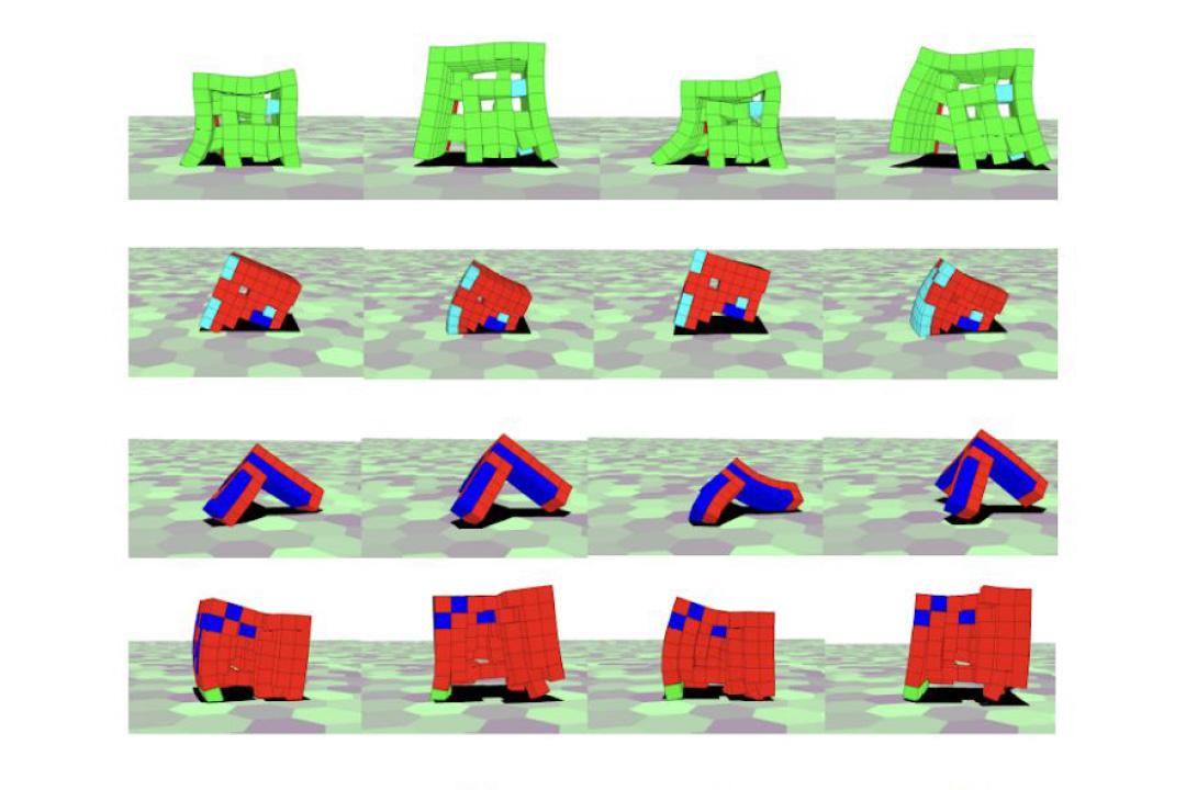 A grid of computer generated, regenerating soft robots.