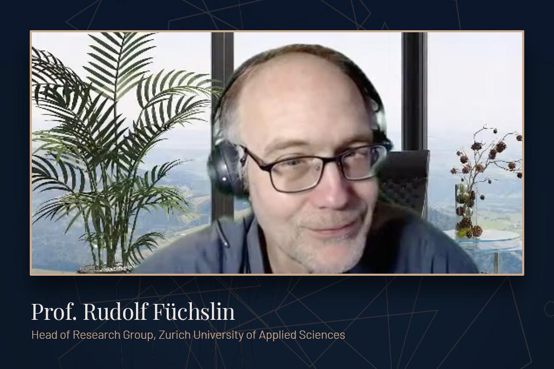 Professor Rudolf Füchslin presenting via Zoom for Cross Roads.