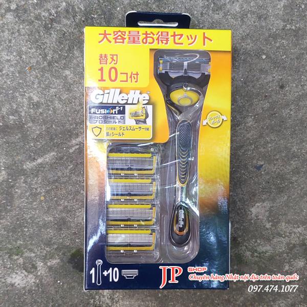 Dao cạo râu Gillette 5 lưỡi Nhật Bản hộp 1 cán 10 lưỡi