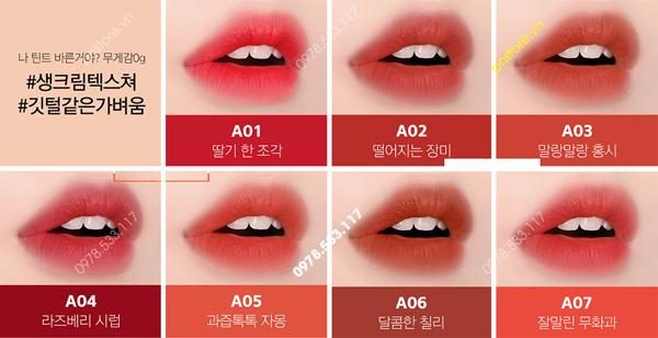 Bảng màu son Black Rouge Air Fit Velvet Tint version 1