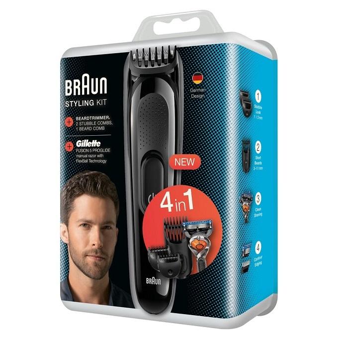 Máy cạo râu Braun Styling kit 4 in 1 gồm 1 tông đơ 1 dao cạo râu Gillette