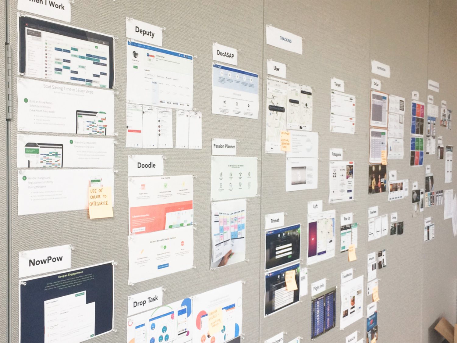 Research documents pinned up on a wall