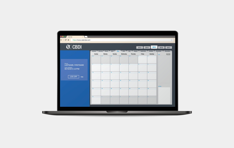 The digital treatment calendar on a laptop