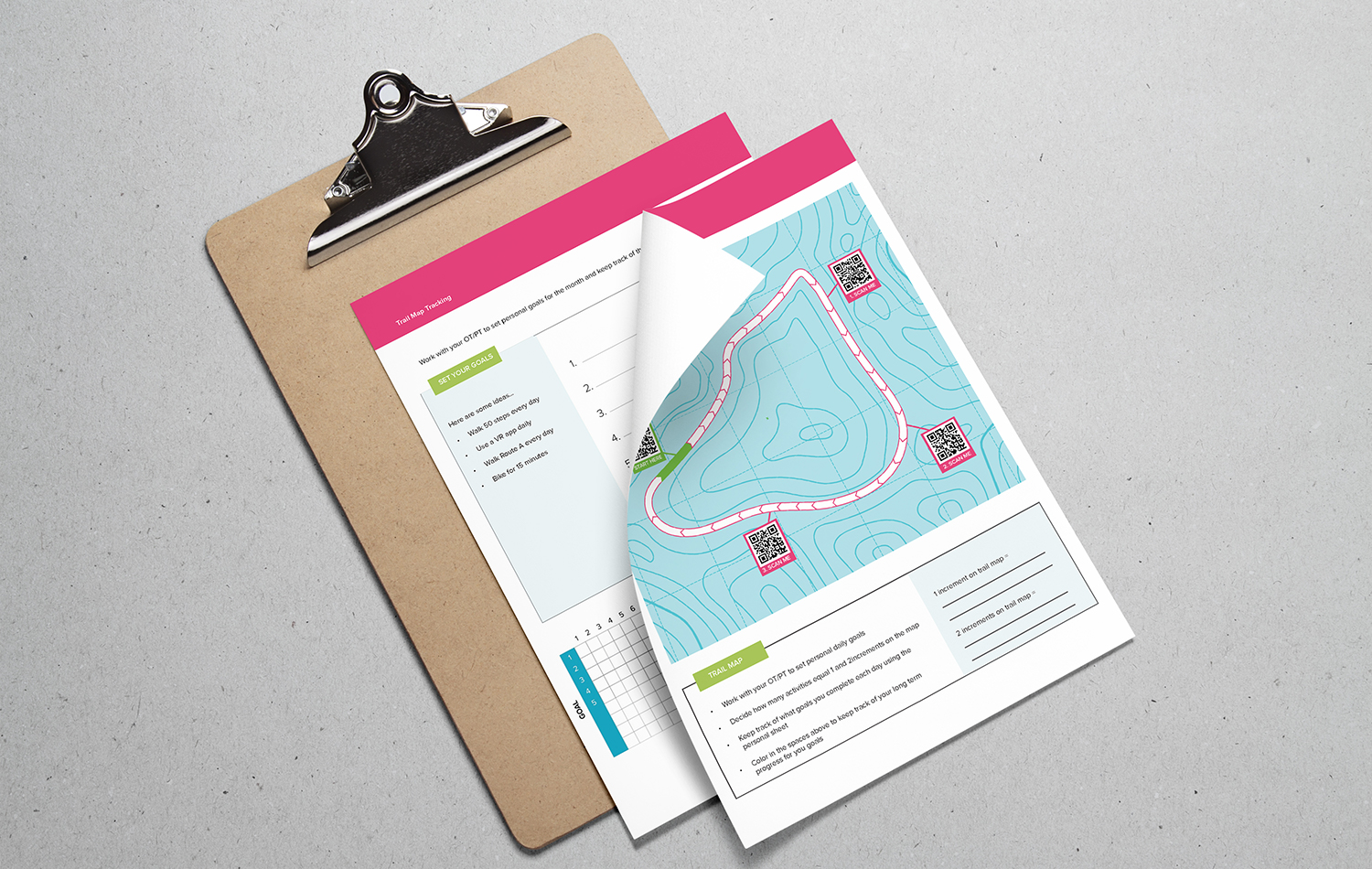 Clipboard with the activity tracking documents