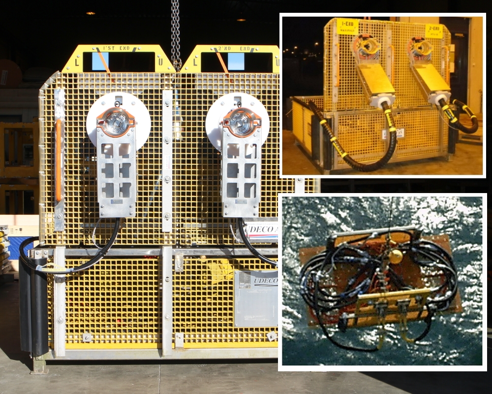 Ubas A or B ROV baskets configured for hydraulic flying lead installation.