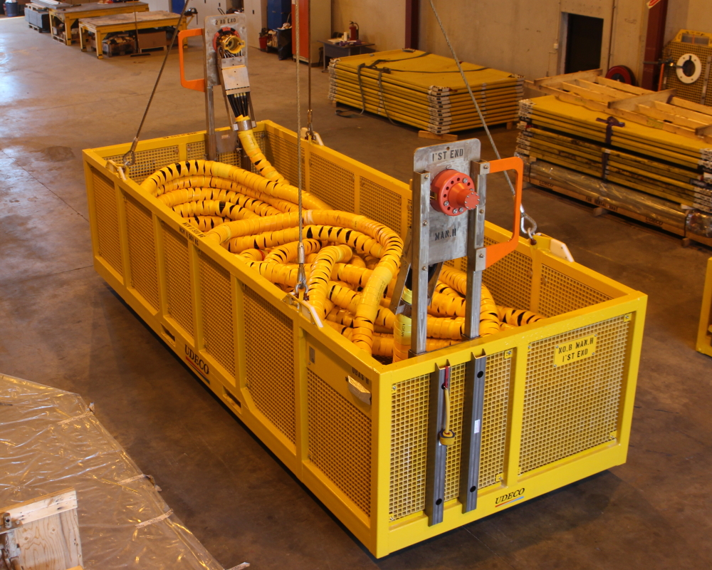 Ubas H ROV basket configured for hydraulic flying lead and jumper installation.
