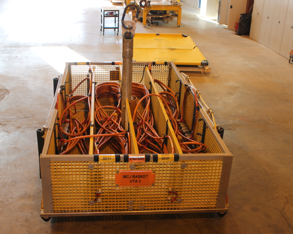 Ubas B ROV basket configured for electrical and optical flying lead installation.