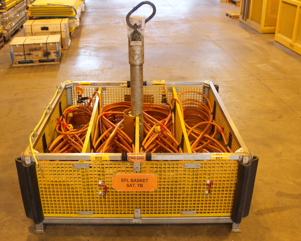 Ubas A or B ROV baskets configured for flying lead installation.