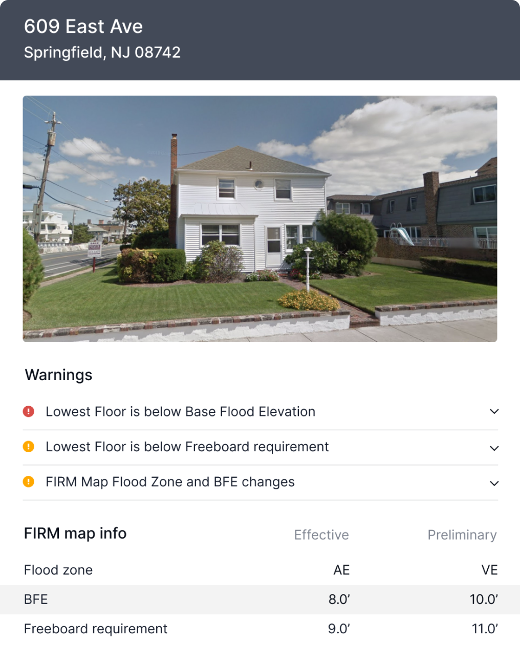 Forerunner Product - Property Info Panel