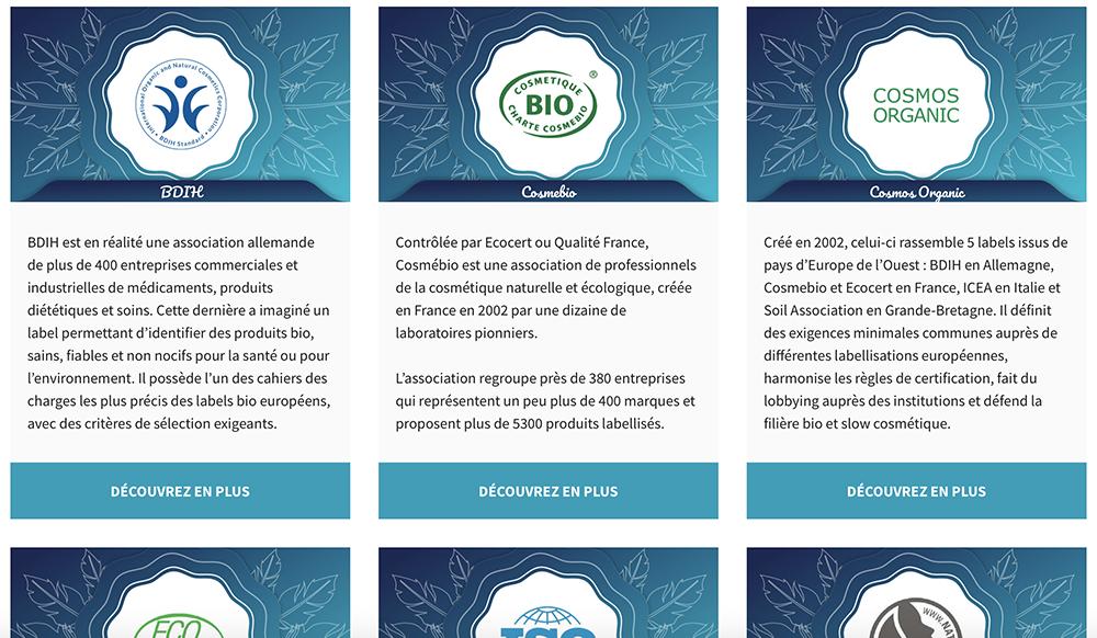 Capture d'écran de la page des labels et Cosmétiques Bio référencés par Les Essentiels d'Ana