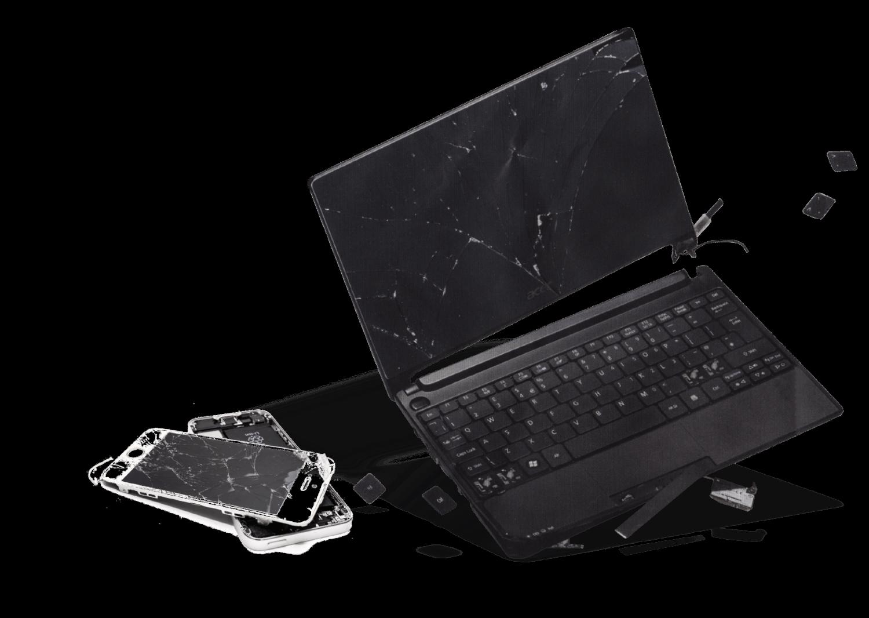 un portátil y uno smartphone rotos
