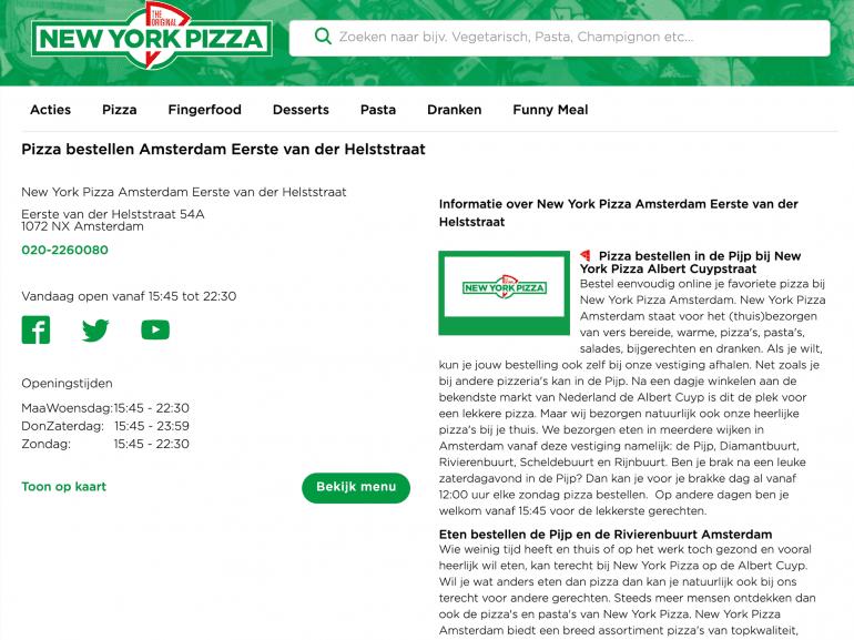 Voorbeeld van een lokale winkelpagina van New York Pizza.