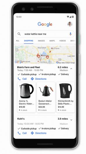 De near me functionaliteit in google, voor lokale marketing.