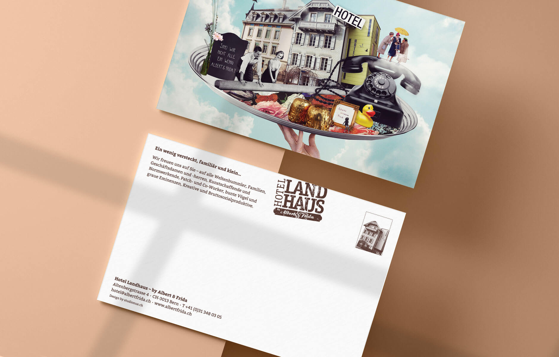collage postcardset albert&frida in bern by raissa lara lütolf by studio nux