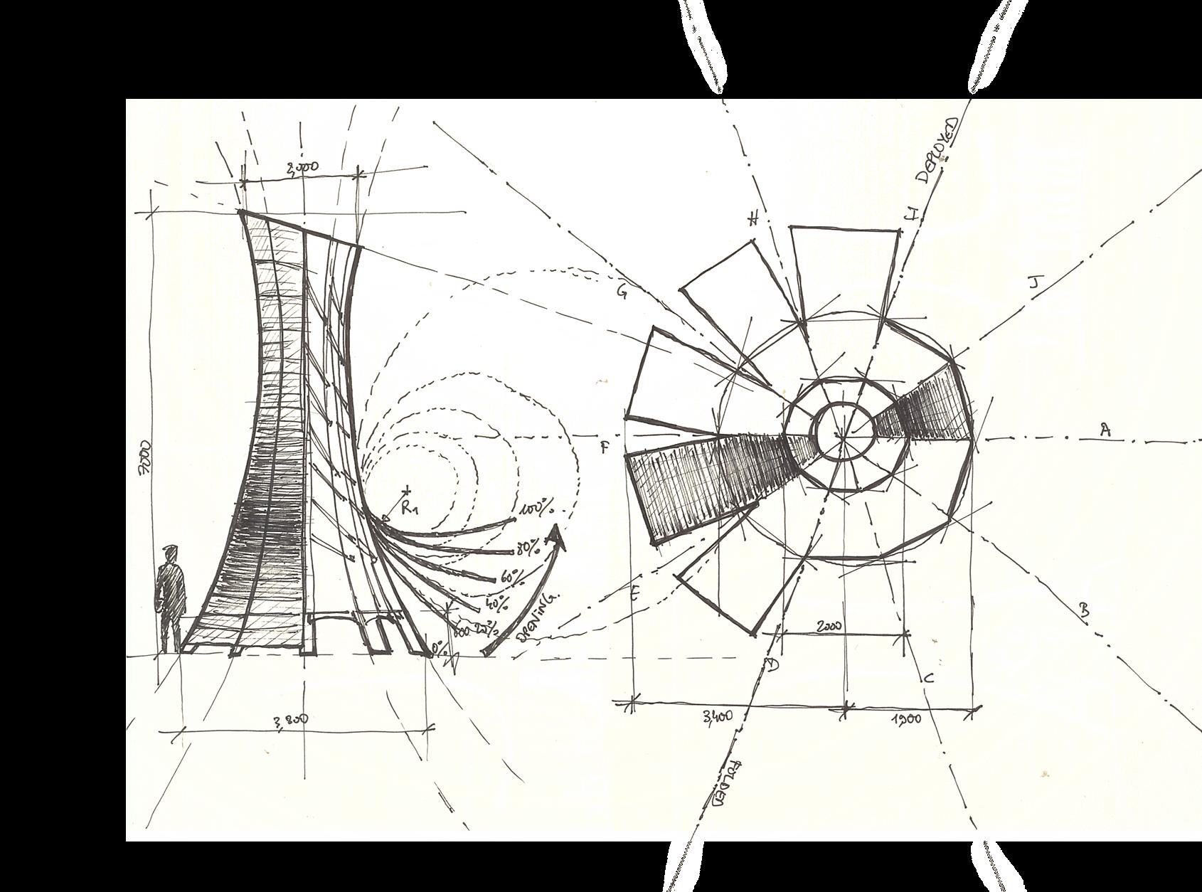Engineering concept sketch tower festival design Spain