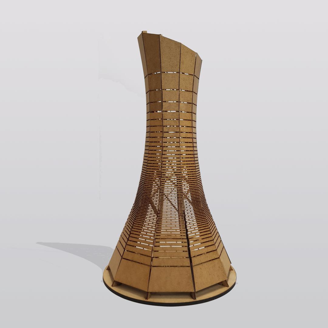 Physical architecture model lasercut bent wood kerf patterns