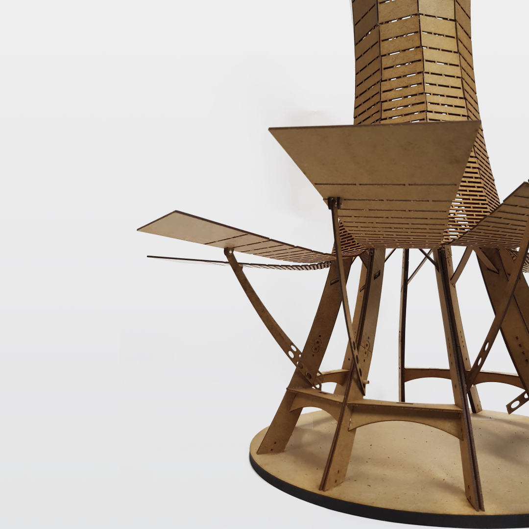 tower architecture model bent wood kerf pattern