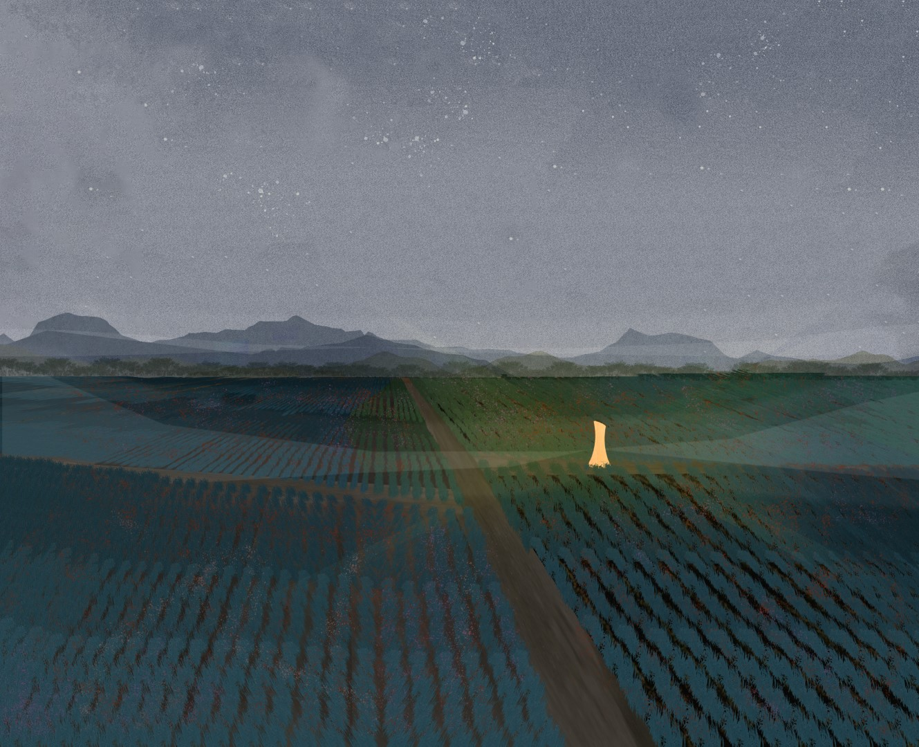Night render among vineyards faro concept lighthouse