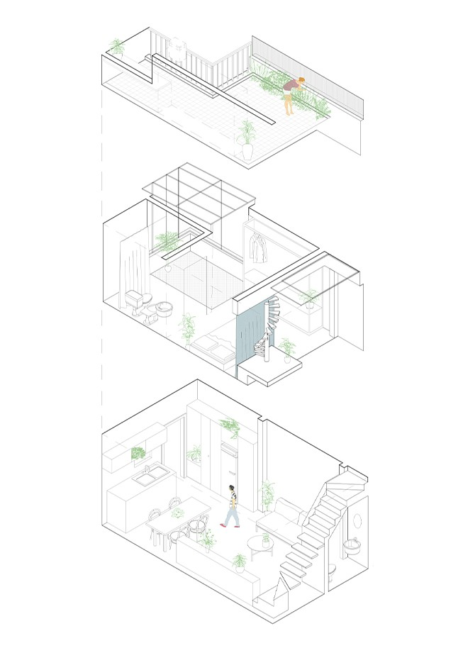 exploded axonometric interior architecture drawing detail
