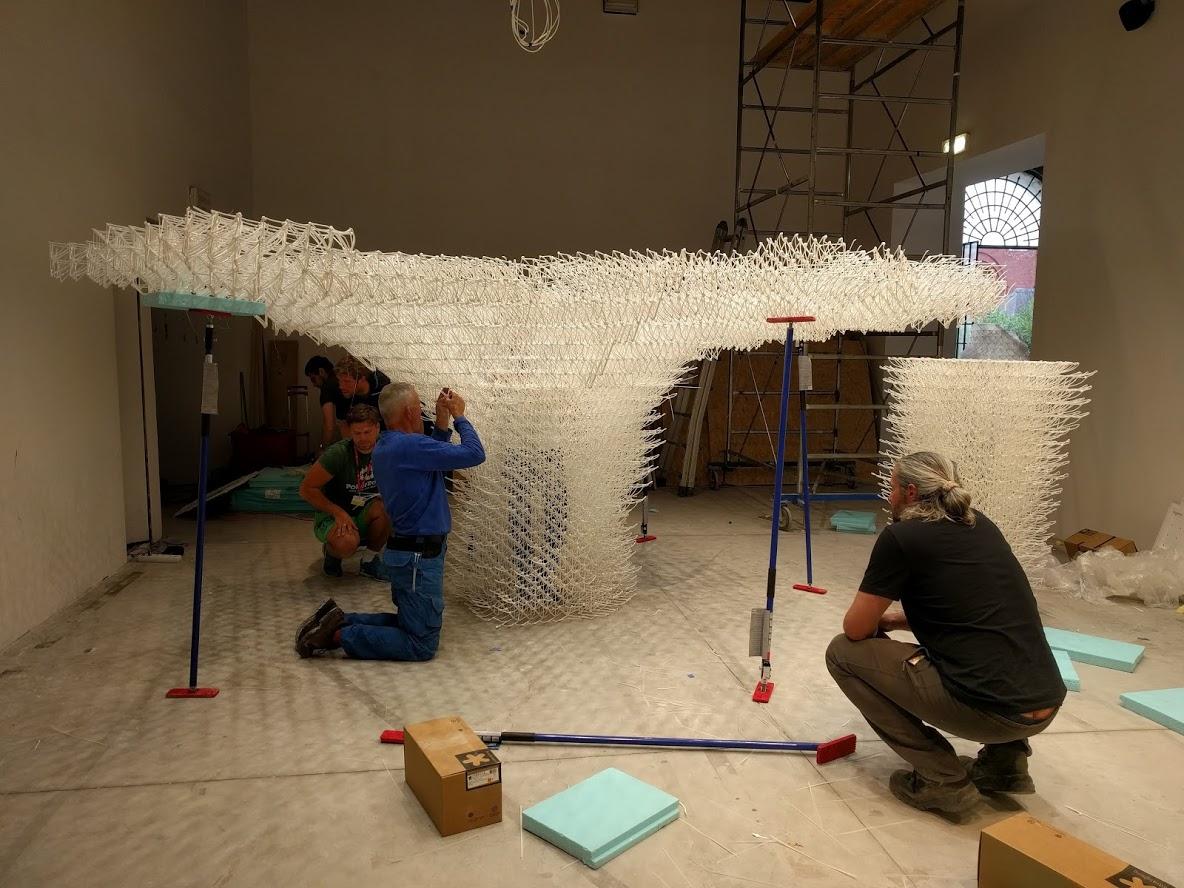assembly 3D printed pavilion Cloud pergola venice biennale