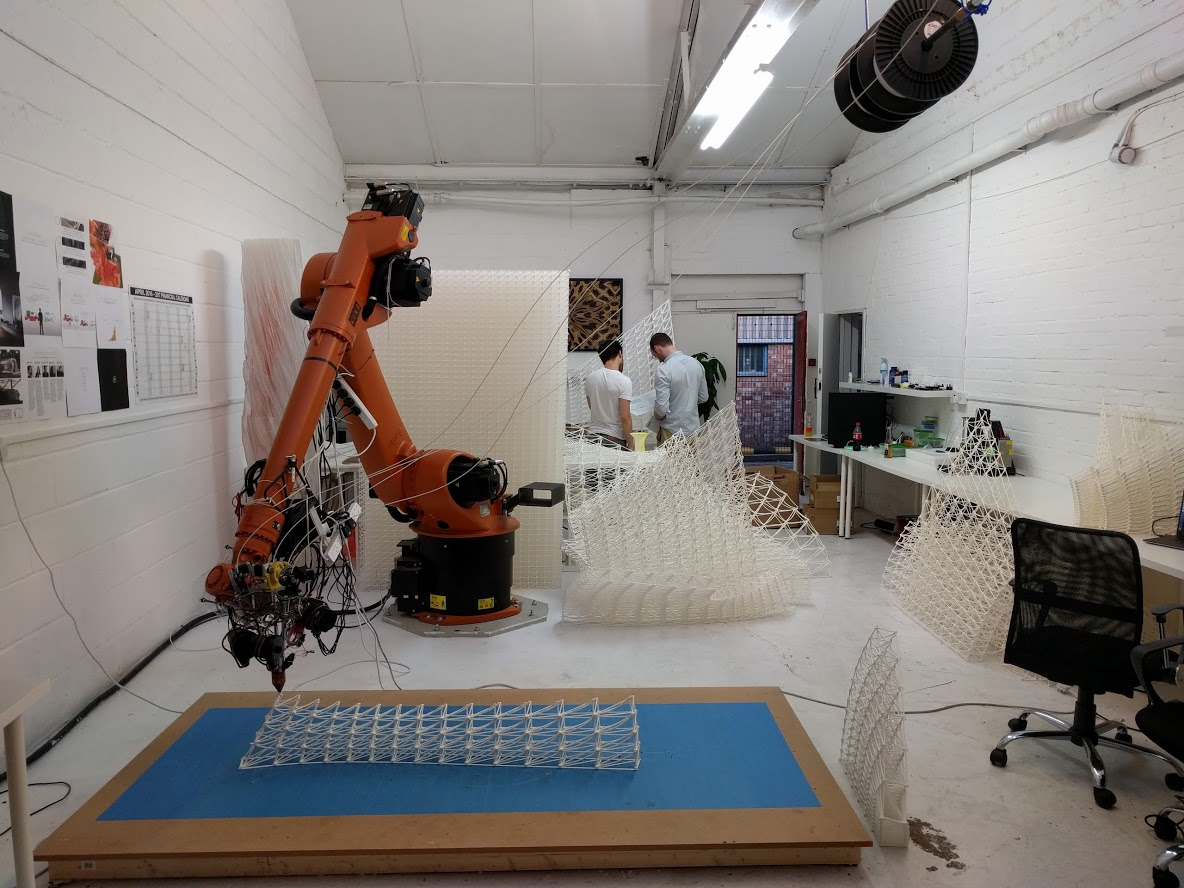 robotic arm 3D printing cloud pergola workshop the collective a venice biennale
