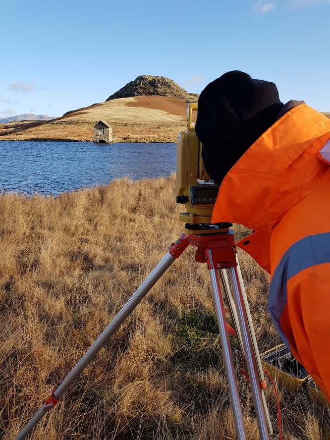 site survey lake district devoke water the collective a surveying station