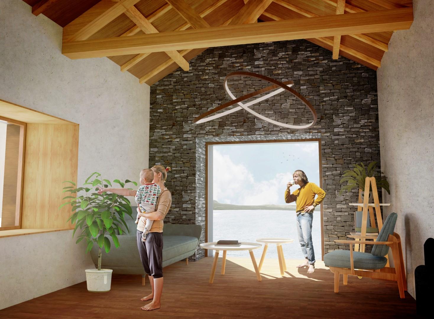 interior render design architecture small cabin the collective a