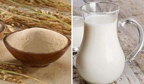 Cám gạo và sữa tươi giúp đỡ chữa trị viêm lỗ chân lông ở chân