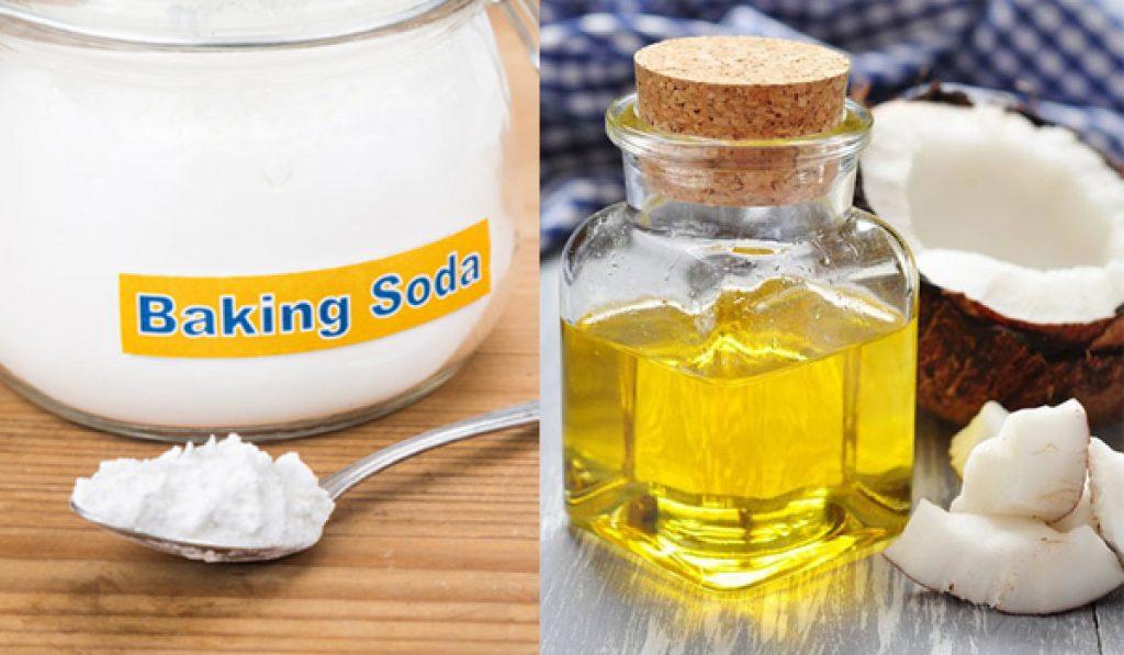trị gàu bằng baking soda với dầu dừa