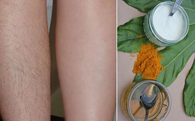 Tẩy sạch lông chân bằng nghệ