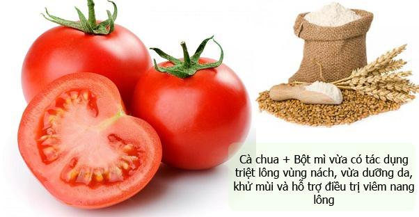 Tẩy lông chân, nách bằng cà chua, bột mì
