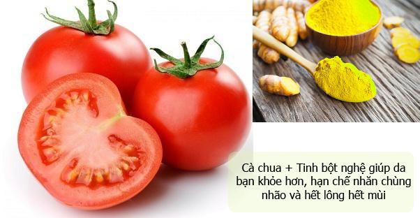 Tẩy lông bằng cà chua, bột nghệ