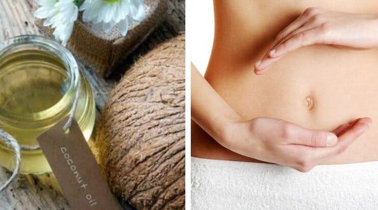 cách bôi dầu dừa lên bụng bầu trị rạn da