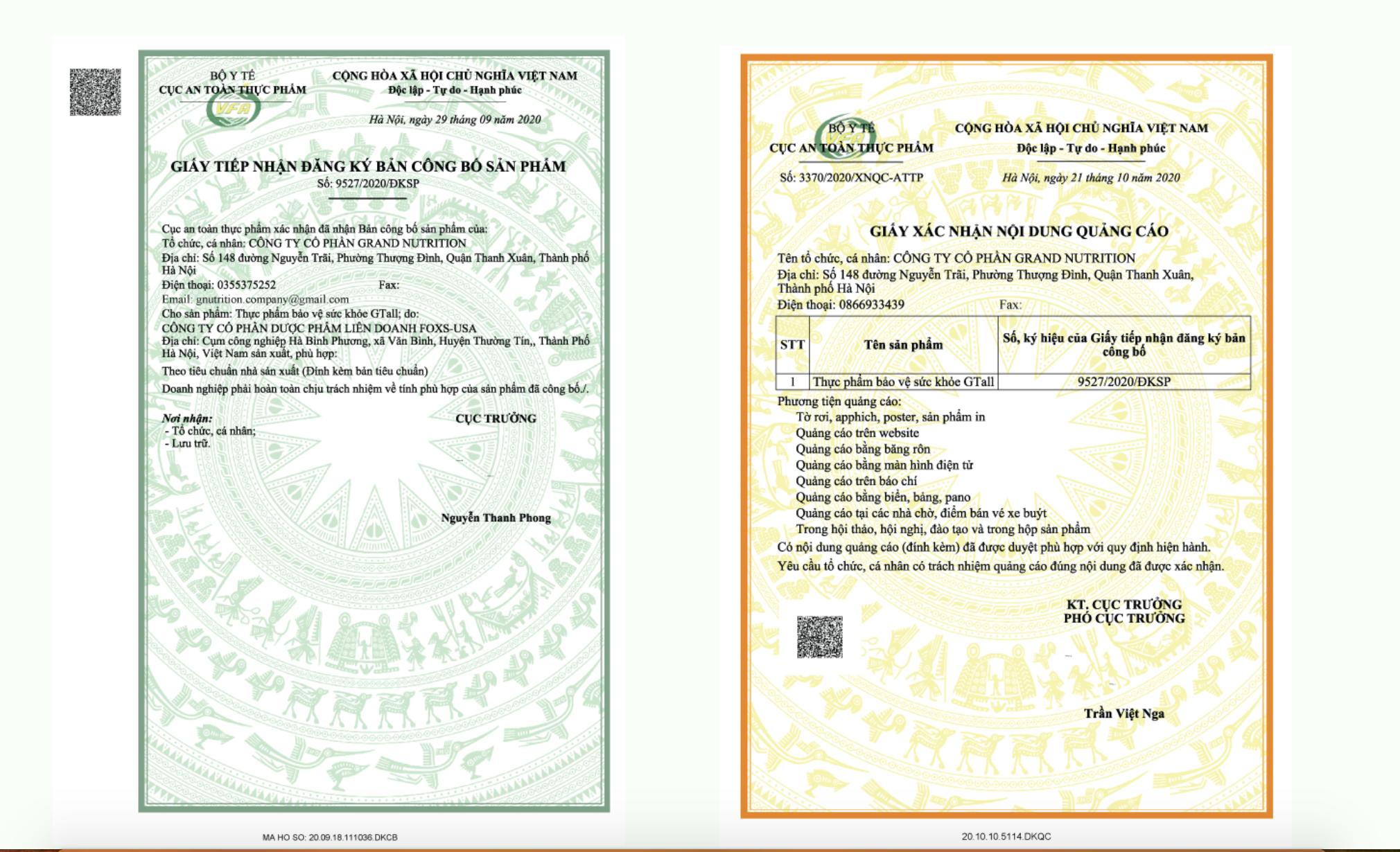 giấy tờ pháp lý của G tall