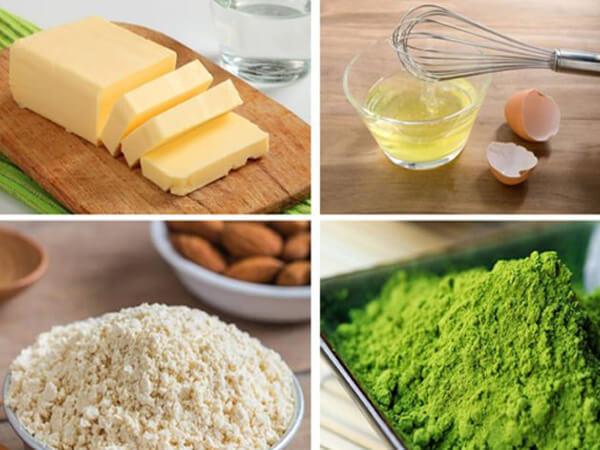 Nguyên vật liệu làm bánh muffin trà xanh