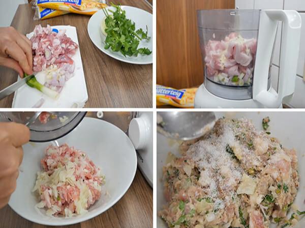 Trộn bột bánh pateso nhân thịt
