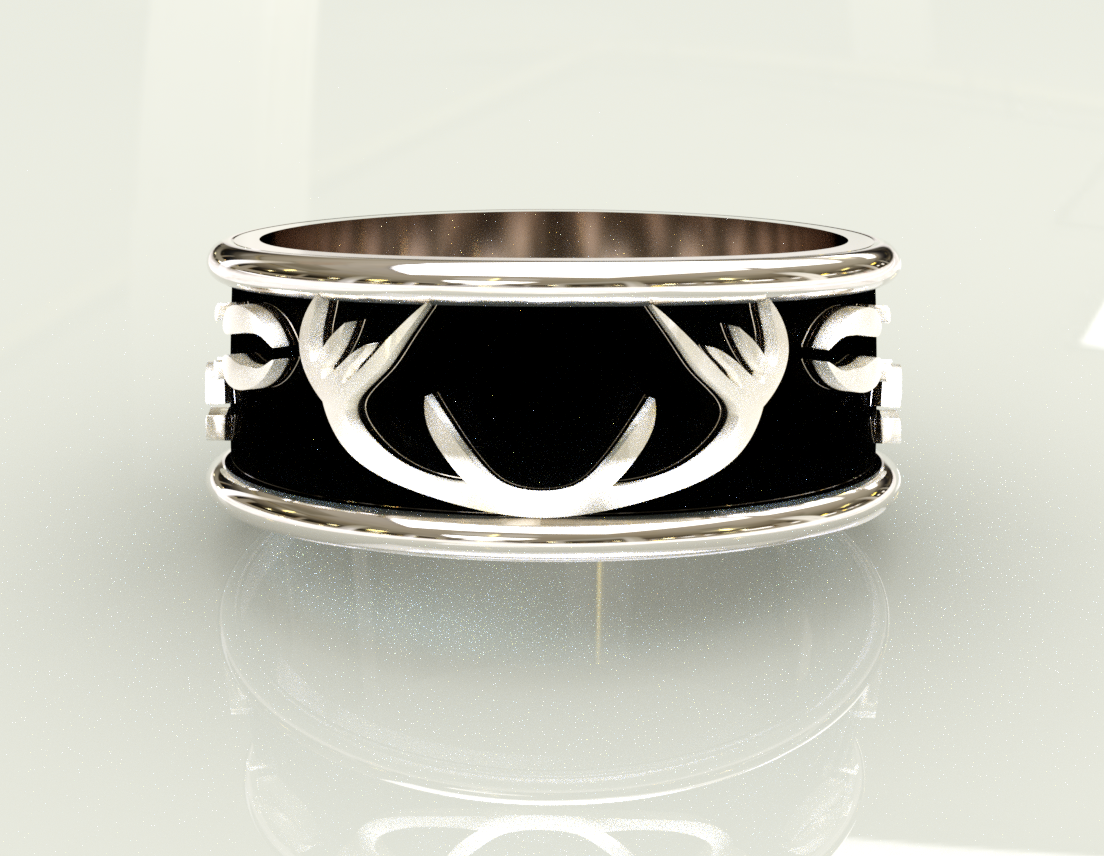 Antlers and Deer Prints Ring