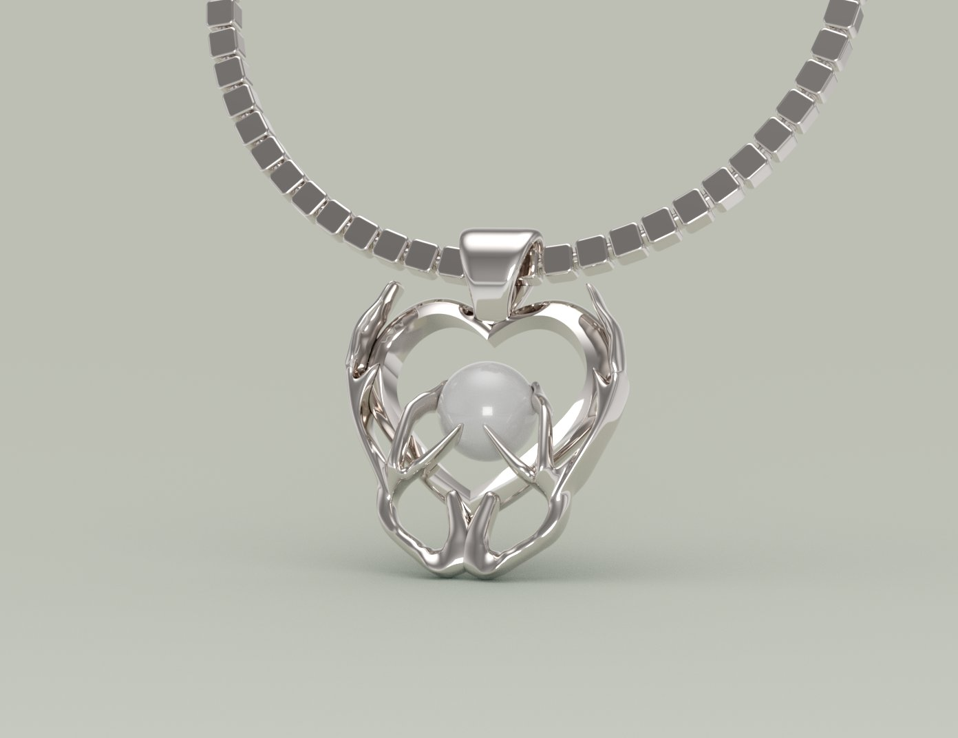 Antler/Pearl Pendant