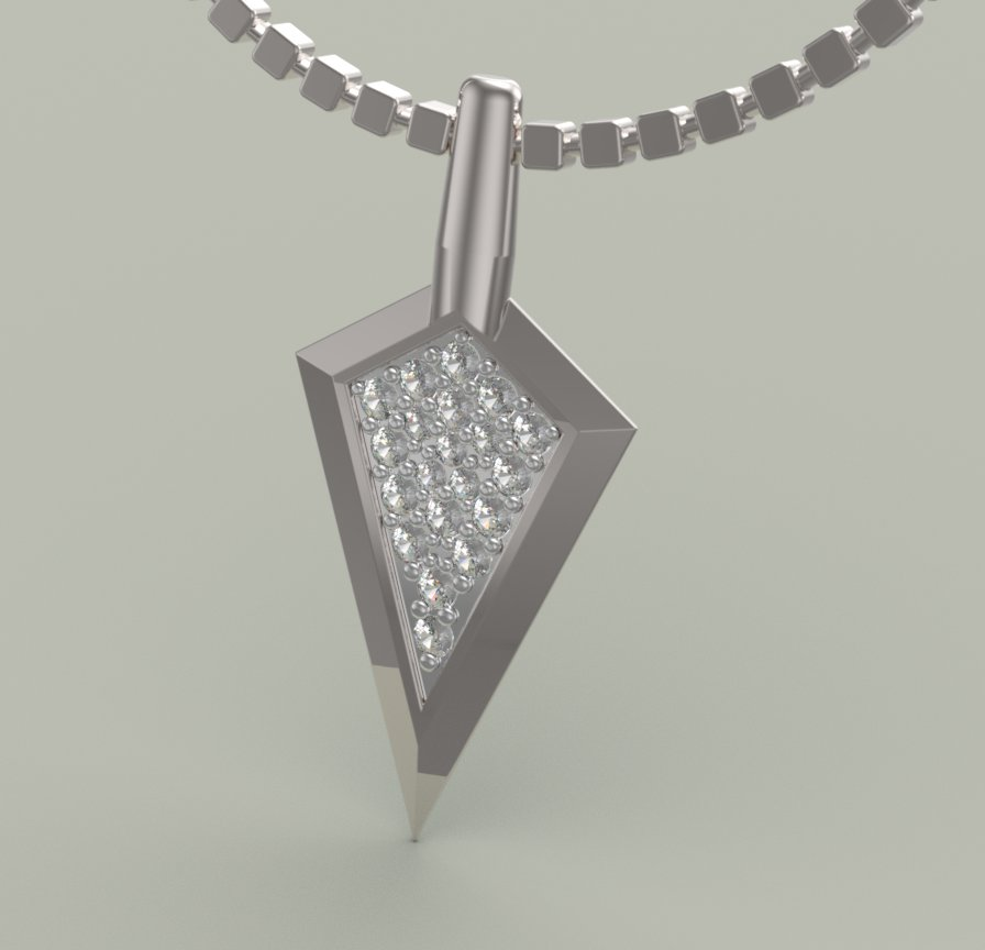 Broad Head Diamond Pendant