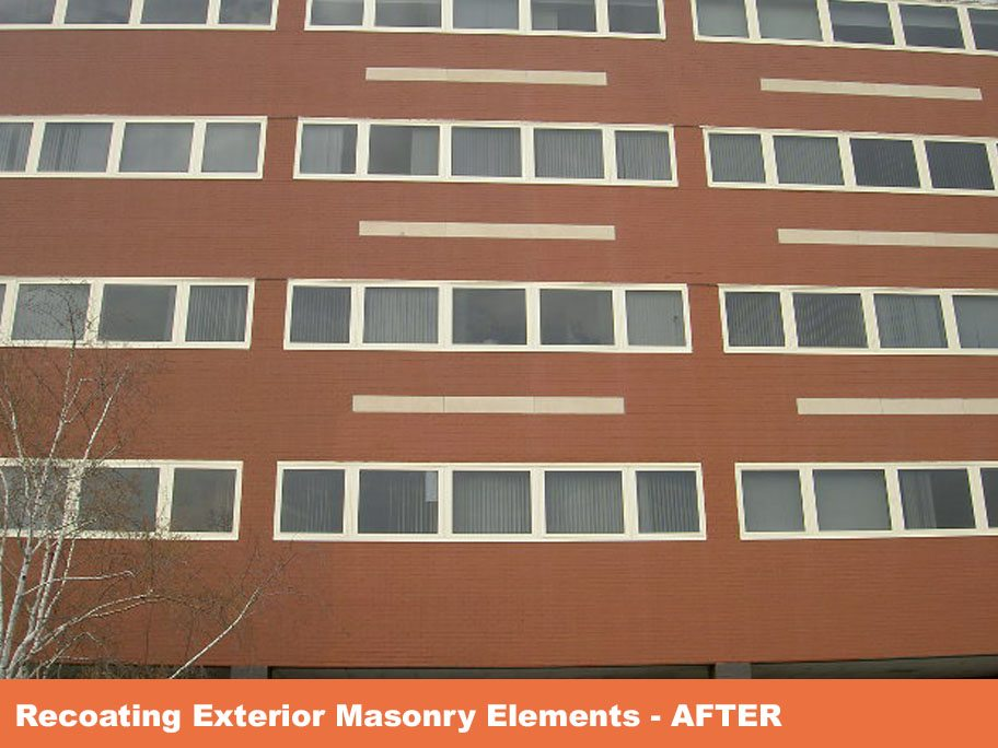 Parapet wall replacement, cornice repair, brick pointing, coating of masonry and window frames.