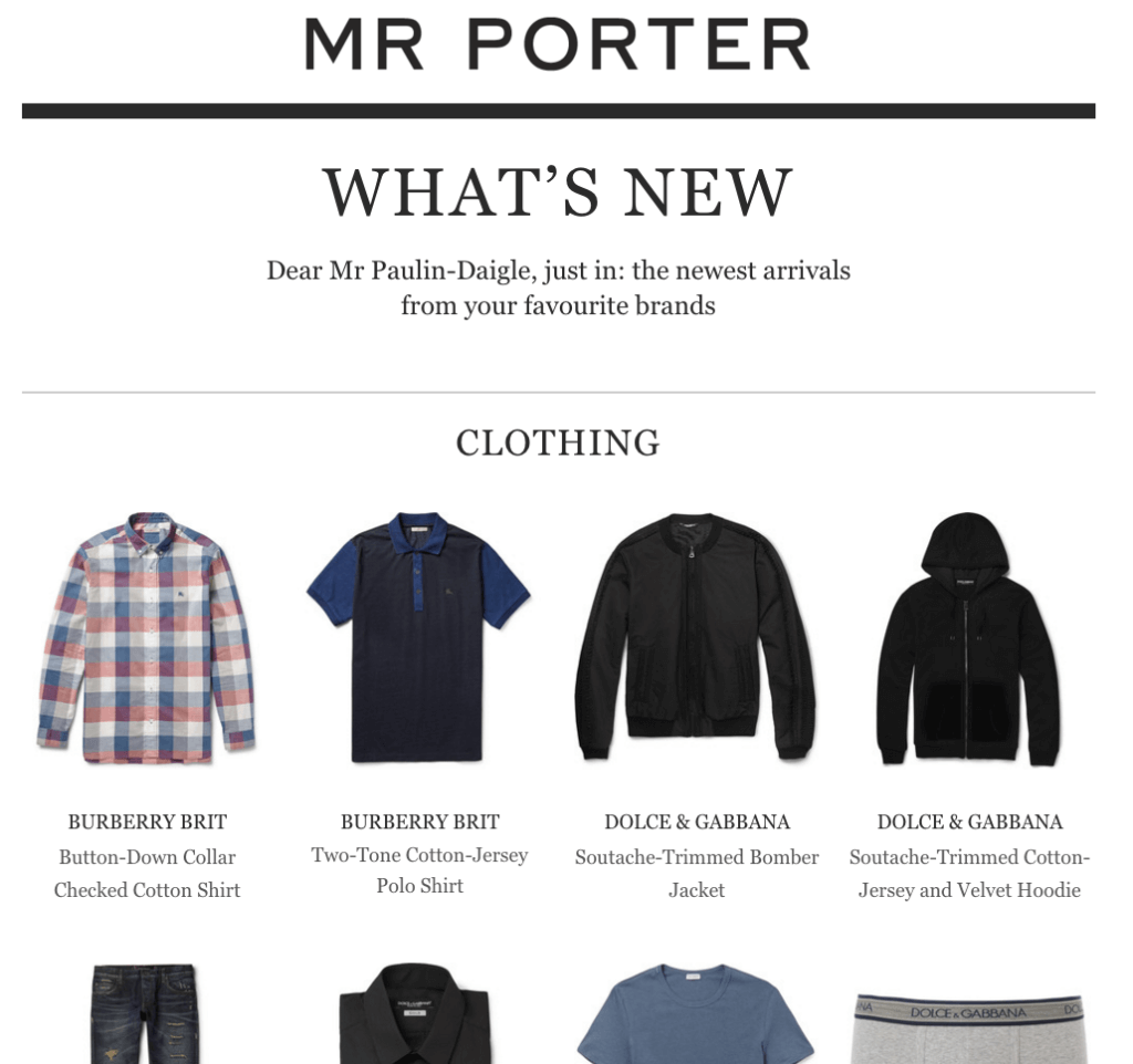 Mr Porter Email Marketing Personalized Digest